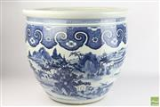 Sale 8496 - Lot 17 - Blue And White Chinese Jardiniere Of Large Proportions Depicting A Village Scene