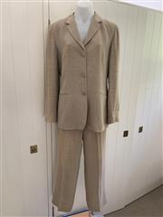 Sale 8694A - Lot 85 - An Armani Collezioni sand-coloured, presumed linen-blend suit, to include matching jacket and pants (both size IT. 44)
