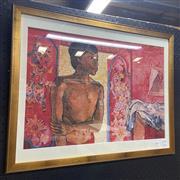Sale 9004 - Lot 2020 - Donald Friend Red Interior, decorative print, 52 x 65 cm