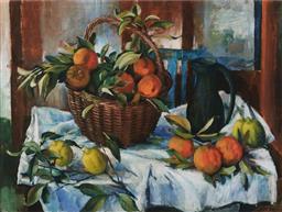 Sale 9125 - Lot 537 - Margaret Olley (1923 - 2011) Basket of Oranges, Lemons & Jug, 2011 colour lithograph, ed. 126/150 60 x 80 cm (frame: 98 x 115 x 3 cm...