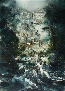 Sale 9141 - Lot 510 - Geoffrey Dyer (1947 - 2020) - St Columba Falls, Tasmania 102.5 x 72 cm (frame: 130 x 96 x 3 cm)