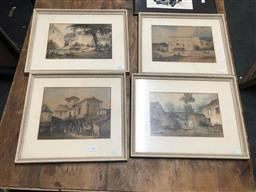Sale 9139 - Lot 2046 - L.V Mirren (four works) 19th century Village Scenes, watercolour frame: 33 x 43 each cm, each signed
