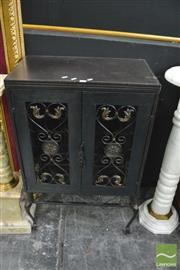 Sale 8386 - Lot 1003 - Metal Wine Rack with Leather Top
