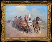 Sale 8408 - Lot 564 - Janos Viski (1891 - 1987) - Road to the Wedding 58 x 77.5cm