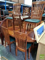 Sale 8480 - Lot 1075 - Ext Timber Dining Table with Six Dining Chairs
