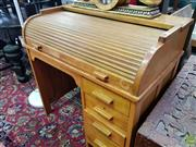 Sale 8589 - Lot 1075 - Maple Roll Top Desk with Dovetailed Drawers (97 x 96 x 60.5cm)