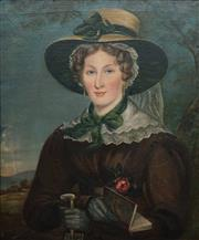 Sale 8597 - Lot 577 - Artist Unknown (C19th) - Portrait of a Woman 73.5 x 60.5cm (frame: 93 x 80cm)