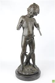 Sale 8612 - Lot 81 - After Moreau Bronze Statue Of Boy Playing Pipes