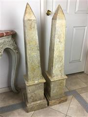 Sale 8730B - Lot 4 - Pair of Decorative Stone Obelisks H: 110cm