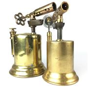 Sale 8739 - Lot 9 - Two Large Brass Blow Lamps (H:23cm)