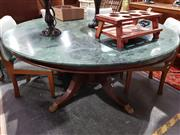 Sale 8760 - Lot 1032 - Round Marble Top Supper Table on Single Pedestal Base & Brass Claw Feet