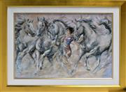 Sale 8778A - Lot 5009 - Gary Benfield - Horse Whisperer 117 x 89cm (frame)