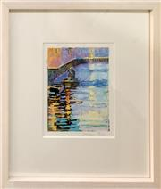 Sale 8853 - Lot 2012 - Victoria Peel Canal Scene oil stick, 40 x 33.5cm (frame), signed -