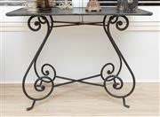 Sale 8902H - Lot 80 - A French wrought iron metal top occasional table, Height 77cm, Width 100cm, Depth 46cm