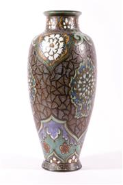 Sale 9015 - Lot 7 - A Ceramic Cloisonne Design Vase (H:41cm) together with a small gilt lidded container