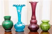 Sale 9058H - Lot 89 - Four items of early coloured glass including an amethyst trumpet vase and blue and green enamelled examples. tallest 19cm