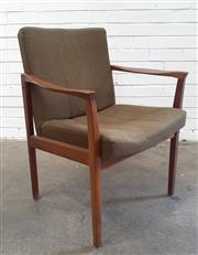 Sale 9092 - Lot 1086 - Teak upholstered carver (h:83 x w:66 x d:43cm)