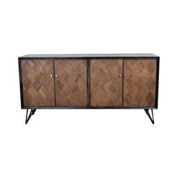 Sale 9134H - Lot 40 - A distressed oak black wash sideboard, with iron double bar legs. Height 86cm x Width 170cm x Depth 45cm