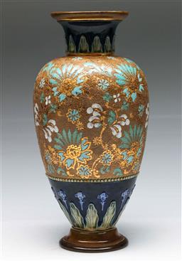 Sale 9138 - Lot 71 - A Royal Doulton Burslem Baluster Vase With Gilt Highlights (H: 36cm)