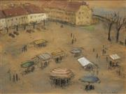 Sale 8613 - Lot 2015 - D.E. Cucuod (C20th) - Market Plaza 23 x 30cm