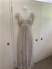 Sale 8694A - Lot 86 - An Alice by Temperley embroidered dove-grey silk ethereal evening dress with empire bust line and slip, size UK 12