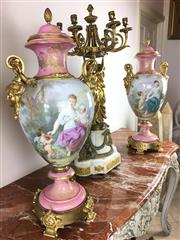Sale 8730B - Lot 5 - Pair of C19th Sevres Urns with Ormolu Handles and Base H: 68cm