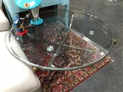 Sale 8851 - Lot 1021 - Round Brass Base Coffee Table with Ram Mounts and Glass Top
