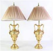 Sale 8977 - Lot 2 - Pair of Gilded table Lamps with Pleated Shades (h:55cm)