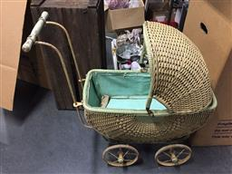 Sale 9139 - Lot 2097 - Vintage cane dolls pram