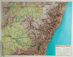 Sale 9148 - Lot 48 - Vintage 3 Dimenional Topographic Map of NSW (89 x 69cm)