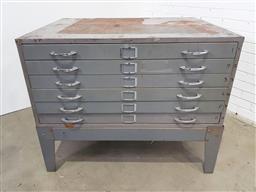 Sale 9157 - Lot 1025 - Metal industrial 6 drawer draughtsman chest (h93 x w115 x d83cm)