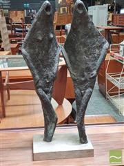 Sale 8451 - Lot 1087 - A bronze finish abstract sculpture of two figures, mounted on timber block, H 80cm