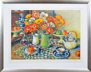 Sale 8286 - Lot 565 - Margaret Olley (1923 - 2011) - Poppies with Checked Cloth, 2008 58.5 x 73cm
