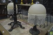 Sale 8289 - Lot 1032 - Pair of Glass Shade Table Lamps