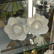 Sale 8379 - Lot 3 - Lalique Crystal Set of 2 Flowers