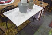 Sale 8390 - Lot 1268 - White Marble & Cast Iron Table (120x 60cm)