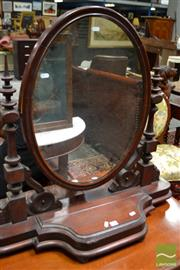 Sale 8460 - Lot 1041 - Victorian Mahogany Toilet Mirror, on turned supports & with hinged compartment