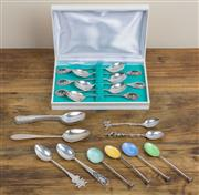 Sale 8489A - Lot 46 - A small quantity of silver tea and coffee spoons, including boxed, enamelled, and others