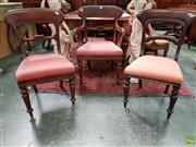 Sale 8598 - Lot 1008 - Set of Seven Victorian Mahogany Dining Chairs, including one armchair, with rail back, carved splat & turned legs (one with crack to...
