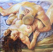 Sale 8678 - Lot 2023 - Naomi Hamilton - Lovers, oil on canvas, 119 x 119cm -