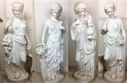 Sale 8730B - Lot 6 - C19th Set of Four (Possibly Carrara) Marble Figures Allegorical of the Four Seasons (Minor Losses) H: 122cm