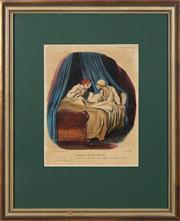 Sale 8759 - Lot 2031 - Honore Daumier (1808 - 1879) - The risks of talking in your sleep (from Mores of Married Life series), 1842 31 x 24cm