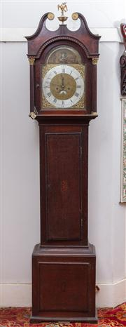 Sale 8804A - Lot 101 - A George III oak automaton longcase clock by Benjamin Greening, of Frampton, with two train movement, the elaborate brass dial with...