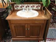Sale 8851 - Lot 1043 - Bathroom Cabinet/Sink with Ceramic Tile Back