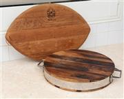 Sale 8902H - Lot 68 - A boutique vineyard Trudeau French wine barrel chopping board of oval form, together with another. Length of longest 57cm