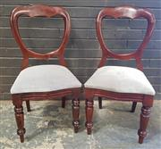 Sale 8976 - Lot 1026 - Set of 10 Victorian Balloon Back Dining Chairs, with light grey upholstery & turned legs