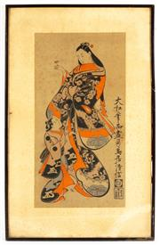 Sale 8976H - Lot 102 - Edo style wood block of a Bijin with attendant image. 53x28cm