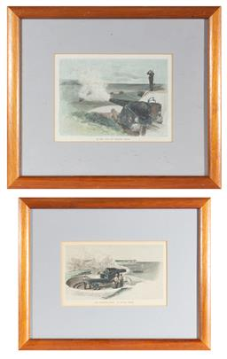 Sale 9130E - Lot 24 - Two framed prints; the fortifications at south head, and 25-ton gun at middle head, both c. 1886, larger frame size 30cm x 34.5cm