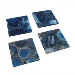 Sale 9140F - Lot 12 - Set of 4 Agate stone coasters with naturally occurring patterns and opaque colouring. Dimensions: W10 x D10 x H1.1 cm