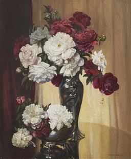 Sale 9195 - Lot 540 - ALBERT SHERMAN (1882 - 1971) - Still Life with Roses 73.5 x 64 cm (frame: 96 x 86 x 10 cm)